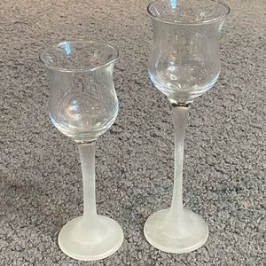Set of 2 Tall Frosted Glass Votive Holders